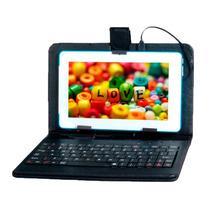 Teclado Con Funda Para Tablet Pc 10 Pulgadas Negro Micro Usb