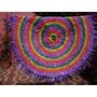 Alfombra Circular De Totora Al Crochet - 1 Metro De Diámetro
