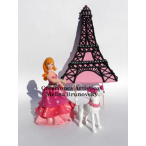 Barbie Moda Mágica En Paris 15 Cm + Mascota + Torre Eiffel