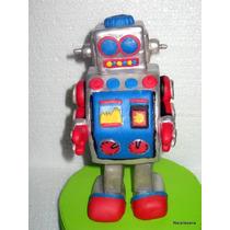 Robot Adorno Para Torta Porcelana Fría Narartesana
