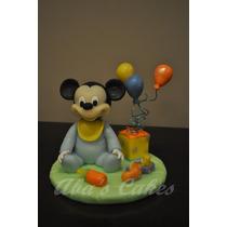 Adorno Para Torta, Mickey C/ Globos, Porcelana Fria