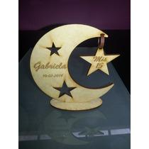 Souvenir Luna Con Estrella Fibrofacil,15 Años,bautismos,cump