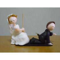 Centro De Torta Casamiento Novios Pescando Porcelana Fría