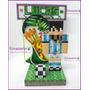 Minecraft Messi + Cartel Personalizado + Stiker De Regalo!!