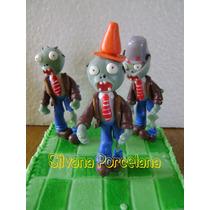Plantas Vs Zombies - Adorno Para Torta - Porcelana
