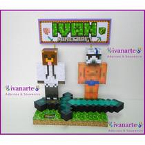 Minecraft Alexby11 Y Elrubius Adorno Torta O Escritorio !!!
