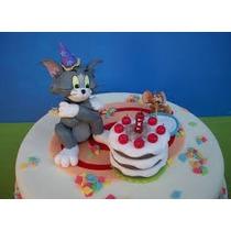 Adorno De Torta Cumpleañporcelana Fria Souvenir Tom Y Jerry