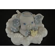 Adorno Para Torta Bautismo Elefante Porcelana Fria