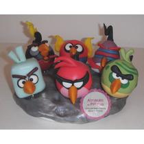 Adorno Torta Angry Birds Space Porcelana Fria, P/cumples