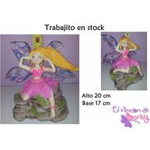 Adorno De Torta Hada En Cascada Porcelana Fria - En Stock