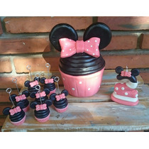 Souvenirs Cupcakes Minnie Mickey Porcelana Fría 25u+central