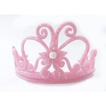 Adorno De Torta Corona Princesa Rosa Stock Inmediato