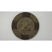 Antiguo Cuadro Madera Tallada Y Bronce Repujado. Rosario