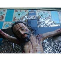 Antigua Gran Cruz Madera Jesus Cristo Plata Crucifijo San