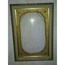 Marco Dorado Antiguo Con Vidrio Curvo Bombe