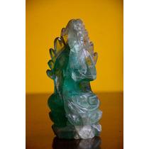 Guanyin Antigua Escultura China De Raiz De Esmeralda