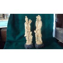 Figuras Oriental Pareja Niños Flores Simil Marfil $ Par 1600