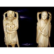 Antiguas Figuras Japonesas Orientales Noble Simil Marfil