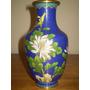 Antiguo Jarrón Cloisonné Oriental Con Motivo Floral (238)