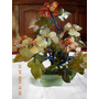 Antiguo Gran Arbol De La Vida De Piedra Dura 8 Flores 26 Cm