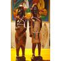 Pareja De Senegaleses En Madera Tallados Y Pintados A Mano