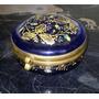 Moser Caja De Cristal Azul Cobalto Pint A Mano Oro Esmalte