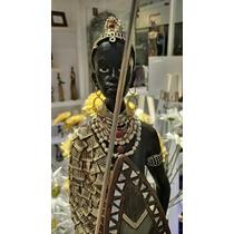 Estatua Africana Resina Altura 70 Cm De Alto. Unica Pieza