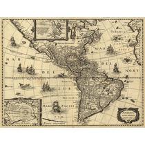 Cuadro De Mapa Antiguo De America En Canvas/bastidor 125x95