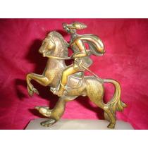 Excelente Figura Caballo Caballero Bronce Marmol (628)