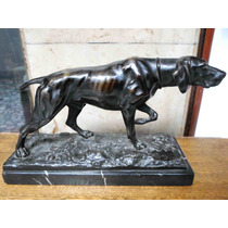 Antigua Escultura Bronce Patinado Perro Caza Braco Firmada
