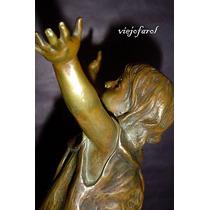 Figura Niña Escultura Estatua De Bronce Frances Art Nouveau