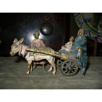 Antiguo Bronce Vienes Familia Arabe Mujer Bebe Señor Carro