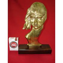 Busto De Mujer - Magnifico Perfil En Bronce Macizo