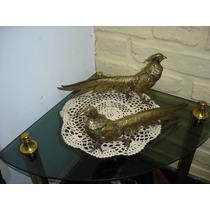 Pareja De Faisanes O Aves Antiguas De Bronce