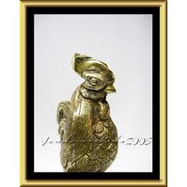 Hermosa Y Detallada Figura De Gallo En Bronce Pulido En Onix