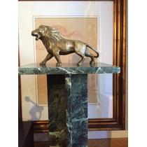 Escultura Bronce Leon Importante Pedestal Marmol Verde Alpe