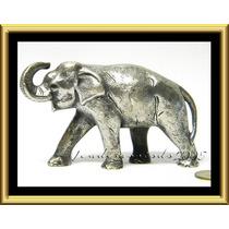 Excelente Figura De Elefante Bronce Bañado En Plata
