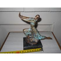 Bailarina De Bronce Con Firma Base De Marmol