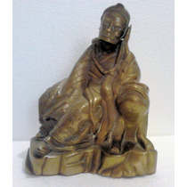 Antigua Figura China Bronce Monje Y Perro De Foo Oriental