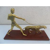 Pasendo Un Tigre Hermosa Escultura De Bronce Macizo