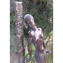 Figura Art Deco Africana Y Totem Bronce Pavonado
