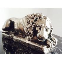 Antigua Escultura De León Plateado