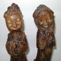 Pareja Oriental Figuras En Cerámica Japonesa De Posguerra