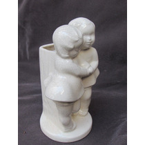 Violetero Antiguo De Ceramica Esmaltada Figuras De Epoca