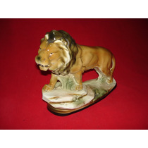 Leon - Impactante Y Decorativa Figura En Ceramica Esmaltada