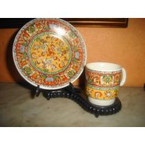 Hermosa Taza Y Plato De Coleccion De Porcelana Oriental-