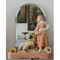 Gran Faience Antigua Con Espejo Biselado La Pastora