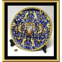 Espectacular Plato Centro Ceramica Faience Gien Francia