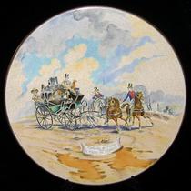 Gran Plato Emaux De Longwy Cerámica Francesa Con Calesa