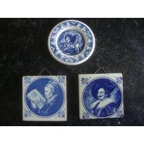 1 Platito Y 2 Mosaicos Delft Blue Pintados A Mano